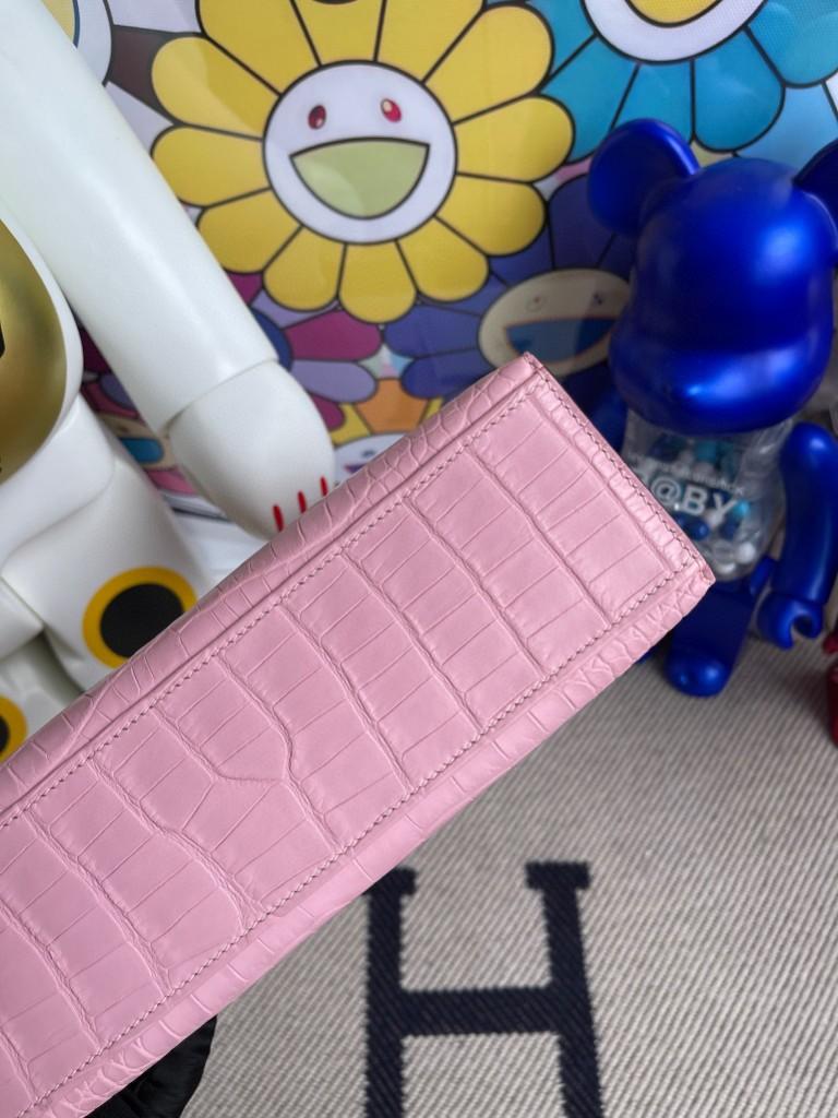 Hermès(爱马仕)Mini kelly pochette alligator matt 雾面鳄鱼 3Q粉 金扣 22cm 顶级手缝 手拿包 晚宴包