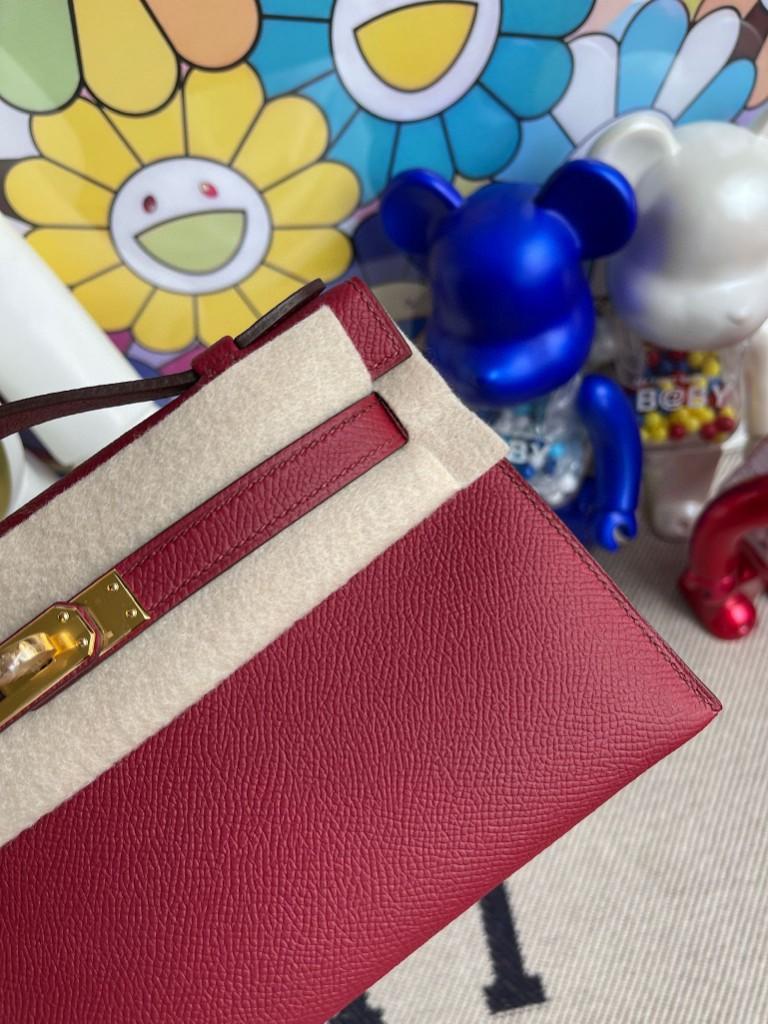 Hermès(爱马仕)Mini pochette Epsom 原厂掌纹皮 k1 石榴红 金扣 22cm 手拿包 晚宴包