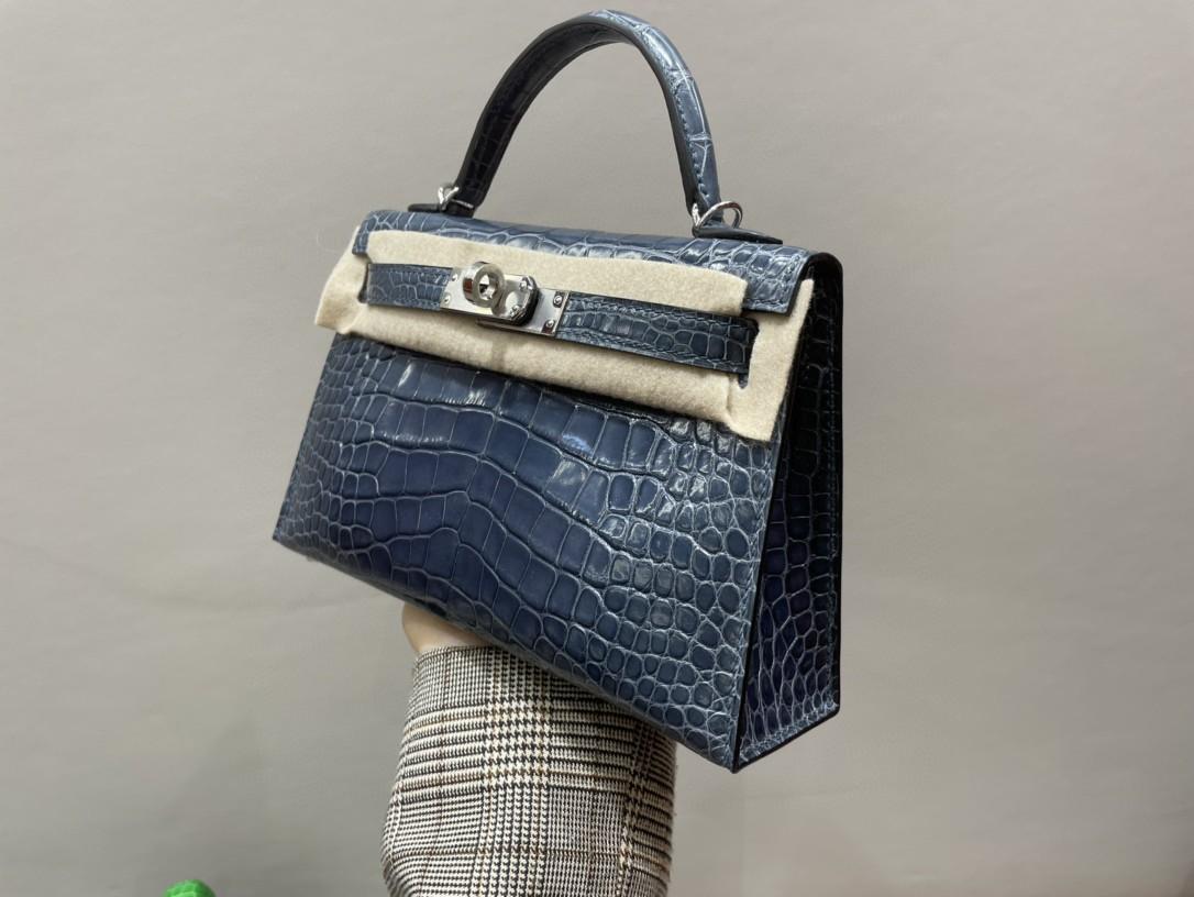 Hermès(爱马仕)Mini kelly ll Alligator shiny 亮面鳄鱼 N7 风暴蓝 银扣 顶级手缝 现货