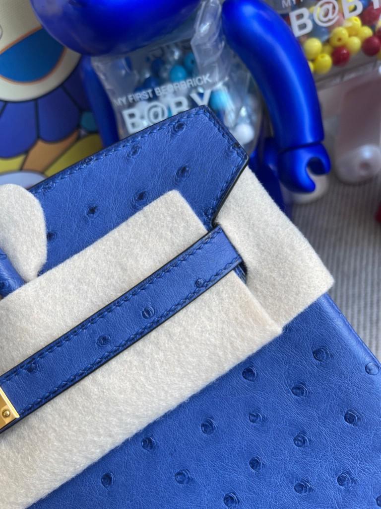 Hermès(爱马仕)Birkin 铂金包 Ostrich kk鸵鸟 7Q希腊蓝 mykonos 金扣 25cm 顶级手缝