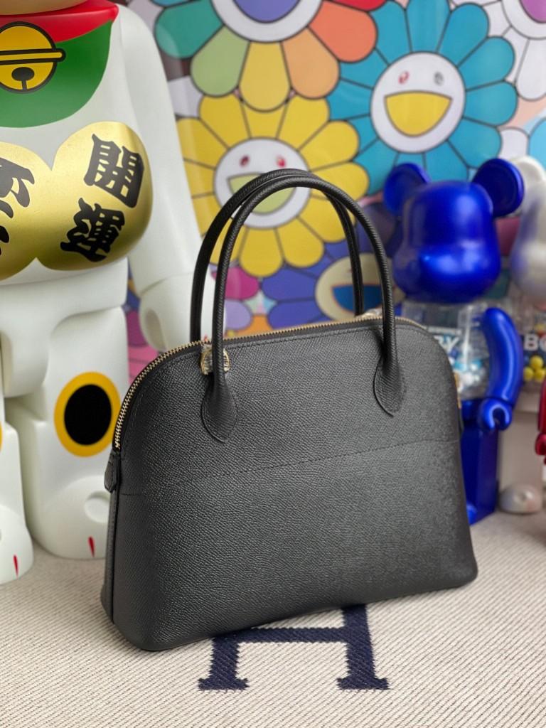 Hermès(爱马仕)Bolide 保龄球包 Epsom 原厂掌纹皮 ck89 黑色 Noir 金扣 27cm 顶级手缝