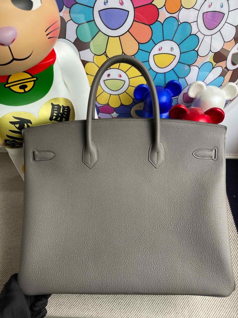 Hermès(爱马仕)Birkin 铂金包 原厂小牛皮 8F 锡器灰 Etain 银扣 40cm 顶级手缝