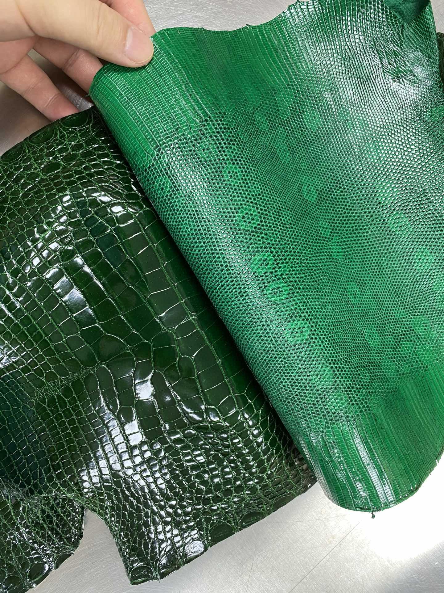 Hermès(爱马仕)新皮 亮面鳄鱼 祖母绿 拼 蜥蜴皮 超美 可定制