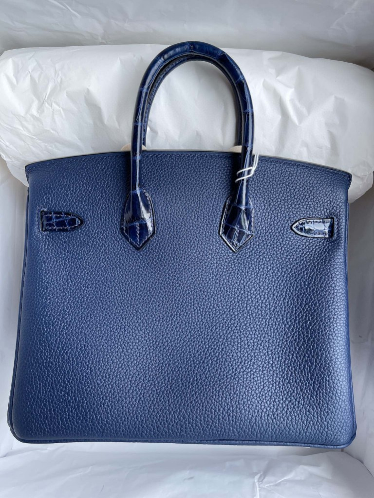 Hermès(爱马仕)Birkin 铂金包 Touch 系列 宝石蓝 亮面鳄鱼 金扣 25cm 顶级手缝