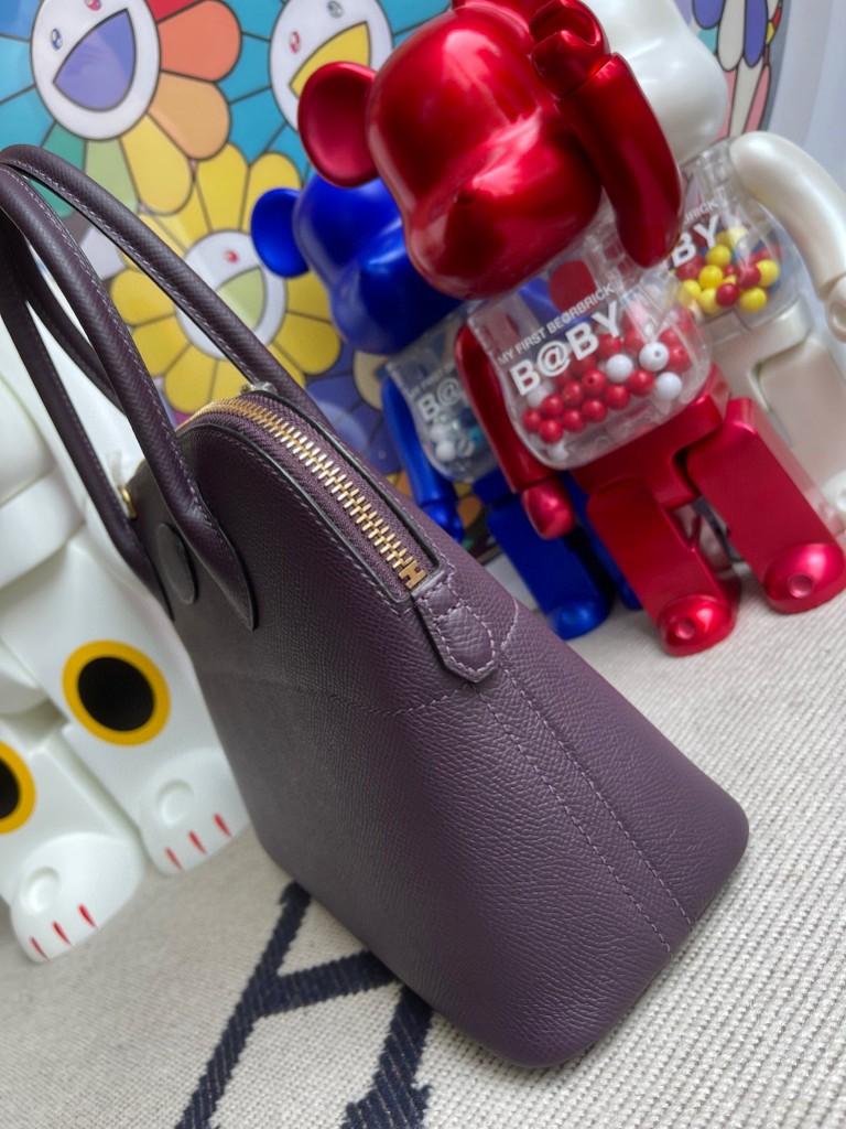 Hermès(爱马仕)Bolide 保龄球包 Epsom 原厂掌纹皮 葡萄紫 金扣 27cm 顶级手缝