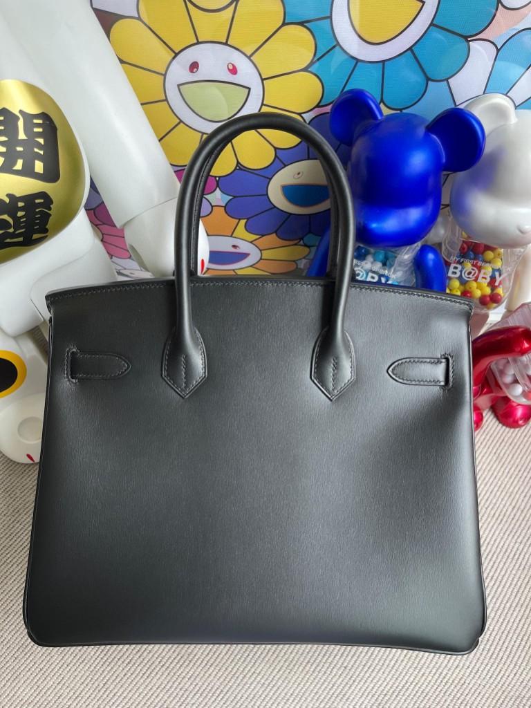 Hermès(爱马仕)Birkin 铂金包 Boxcalf ck89 黑色 noir 黑扣 So black 30cm