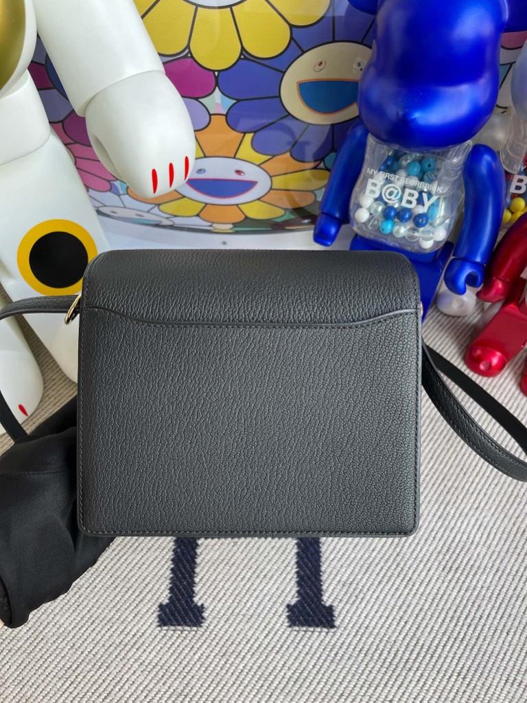 Hermès(爱马仕)Roulis 猪鼻子 Chevre 山羊皮 ck89 黑色 Noir 浅金色 18cm 顶级手缝