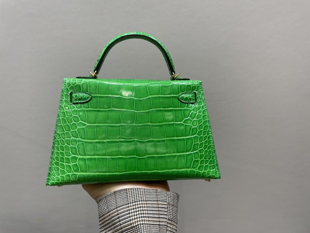 Hermès(爱马仕)Mini kelly ll Alligator shiny 亮面鳄鱼 1L 仙人掌绿 金扣 顶级手缝 现货