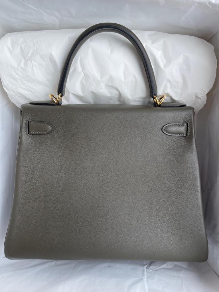 Hermès(爱马仕)Kelly 凯莉包 Swift G8 深橄榄绿 金扣 25cm 顶级手缝 定制