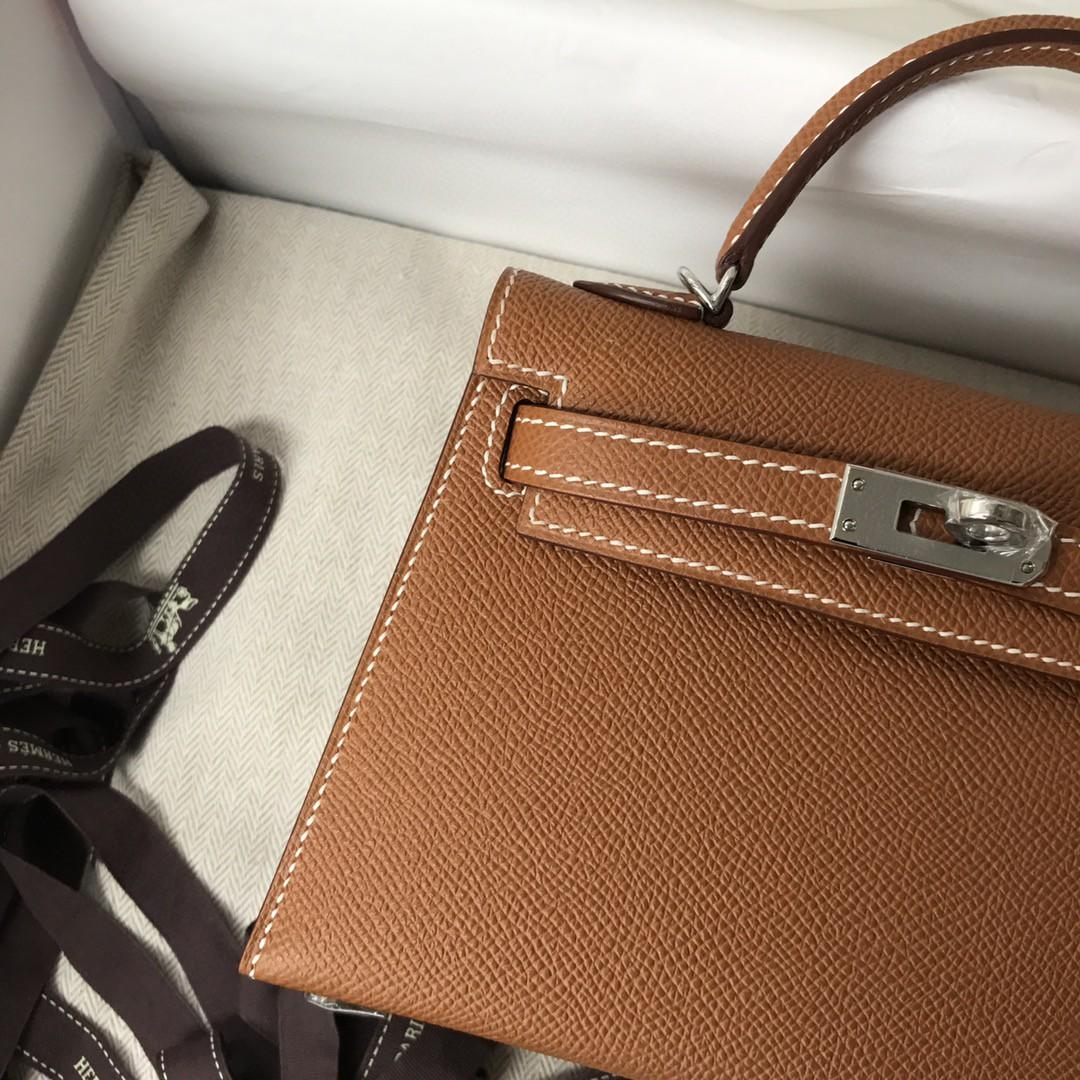 Hermès(爱马仕)Minikelly ll Epsom 原厂掌纹皮 ck37 金棕 gold 银扣 现货