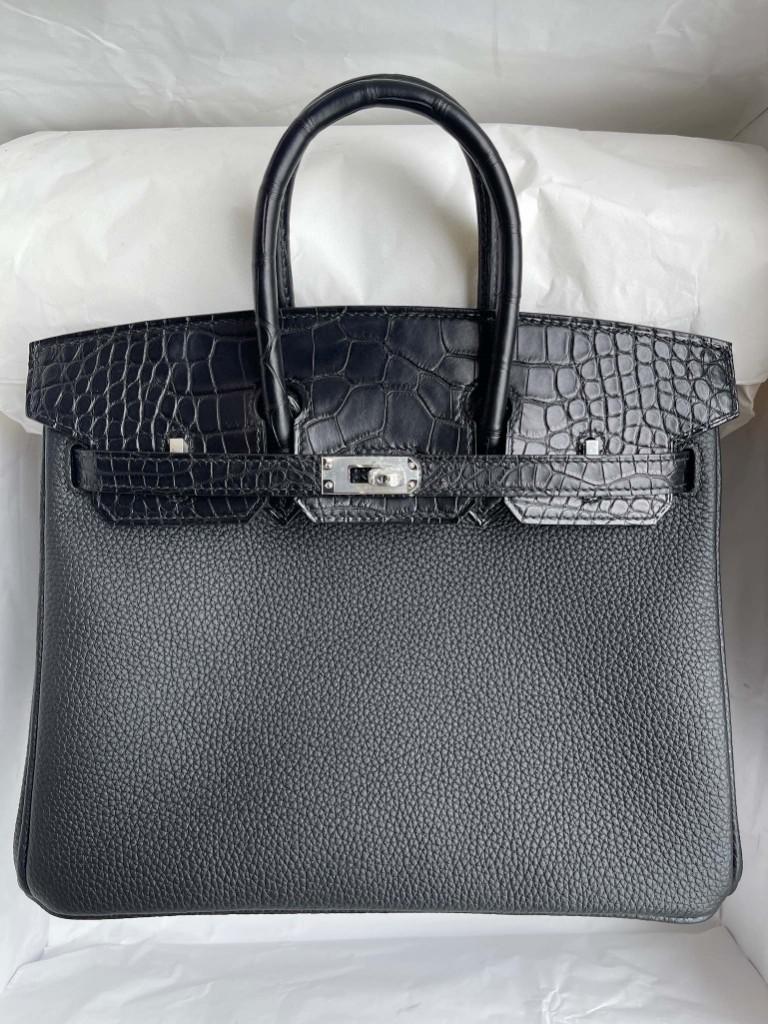 Hermès(爱马仕)Birkin Touch 系列 ck89 黑色 Noir 雾面鳄鱼 银扣 25cm 顶级手缝