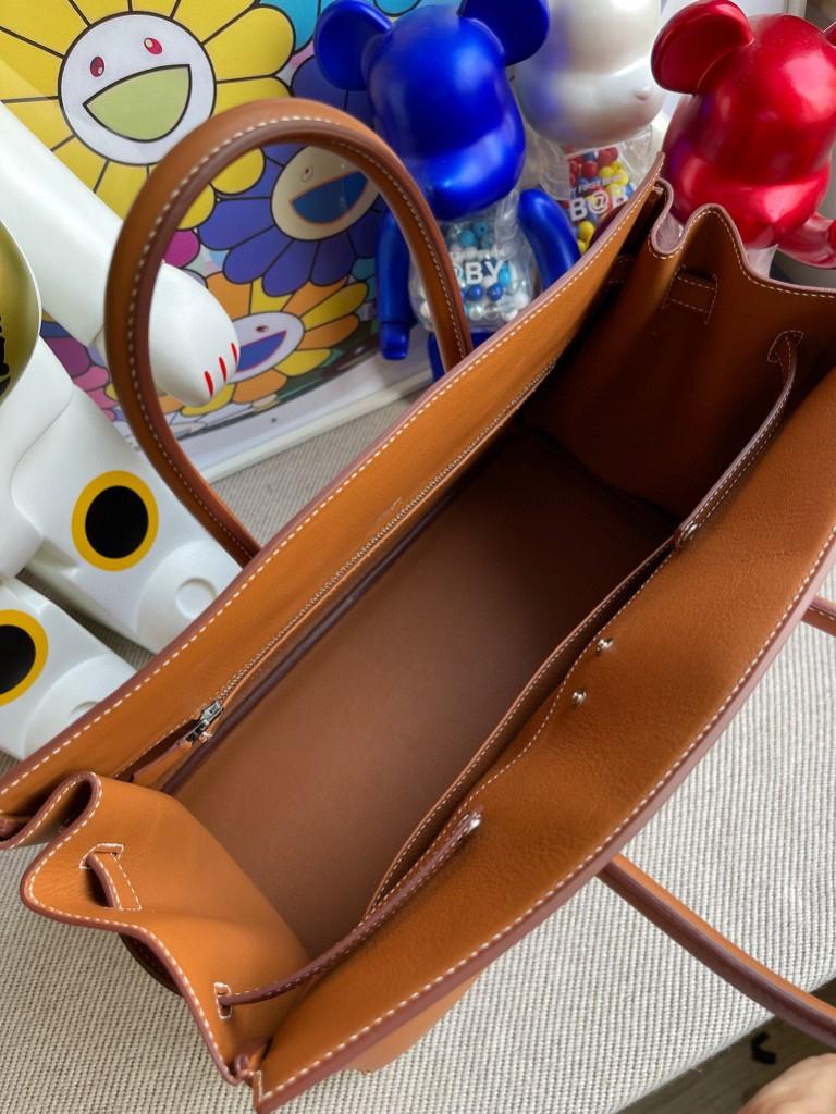 Hermès(爱马仕)Birkin Shadow 影子包 金棕色 银扣 35cm 顶级手缝