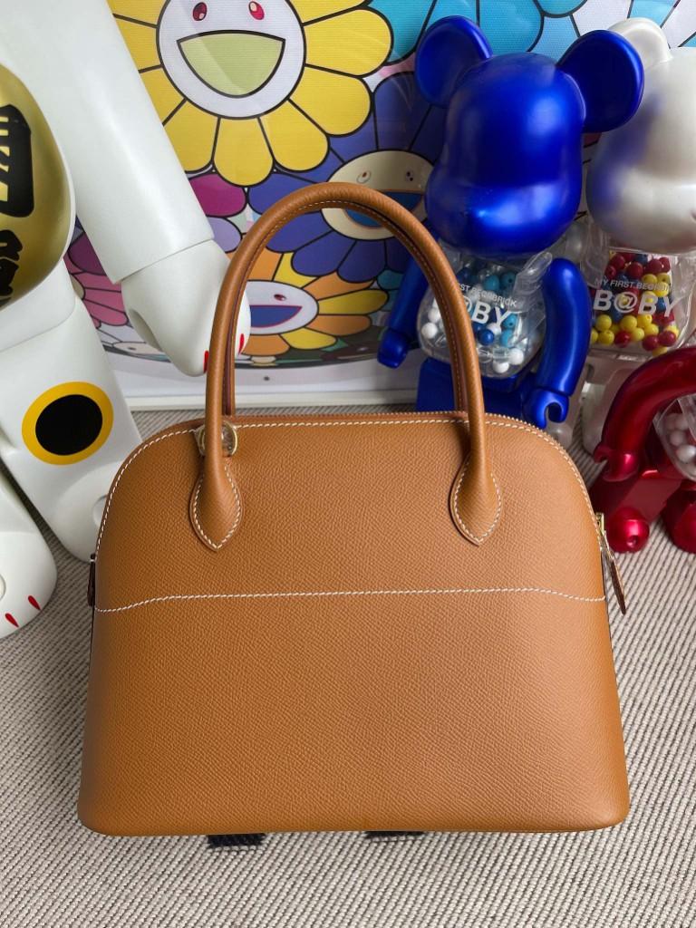 Hermès(爱马仕)Bolide 保龄球包 Epsom 原厂掌纹皮 ck37 金棕 Gold 金扣 27cm 顶级手缝