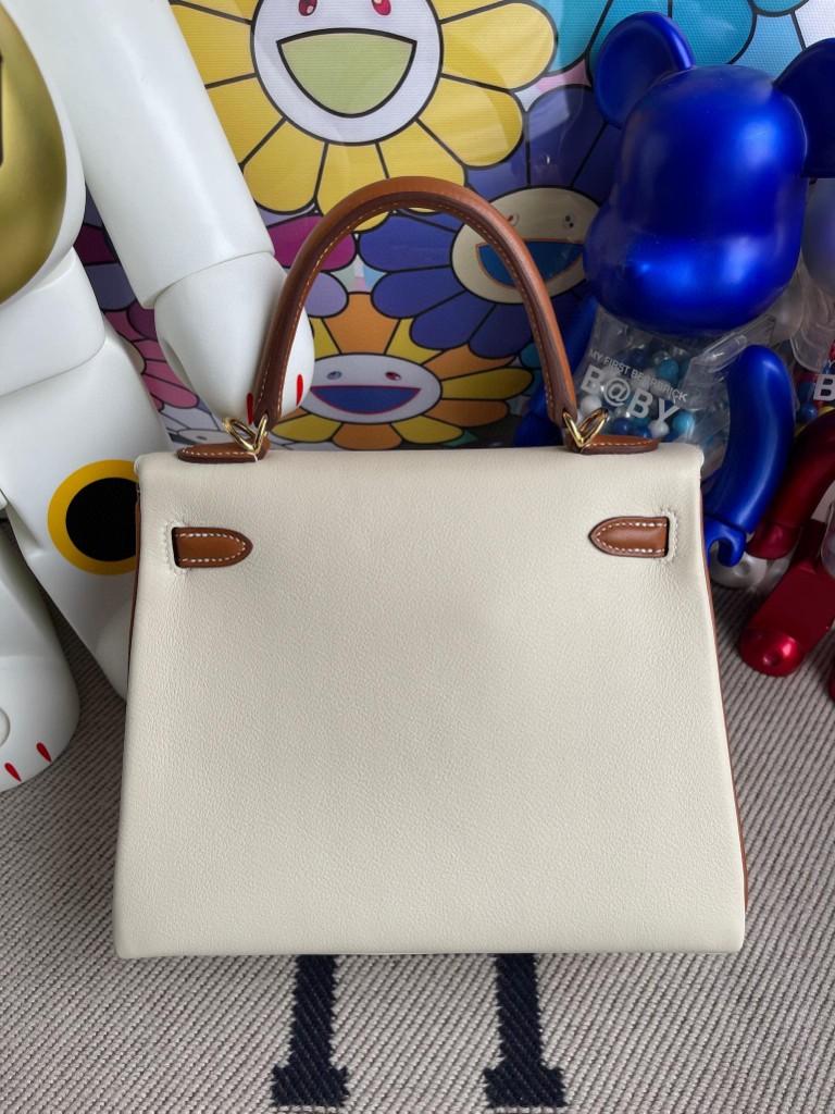 Hermès(爱马仕)Kelly 凯莉包 Swift ck10 奶昔白 拼 金棕色 25cm 金扣 马蹄印 顶级手缝