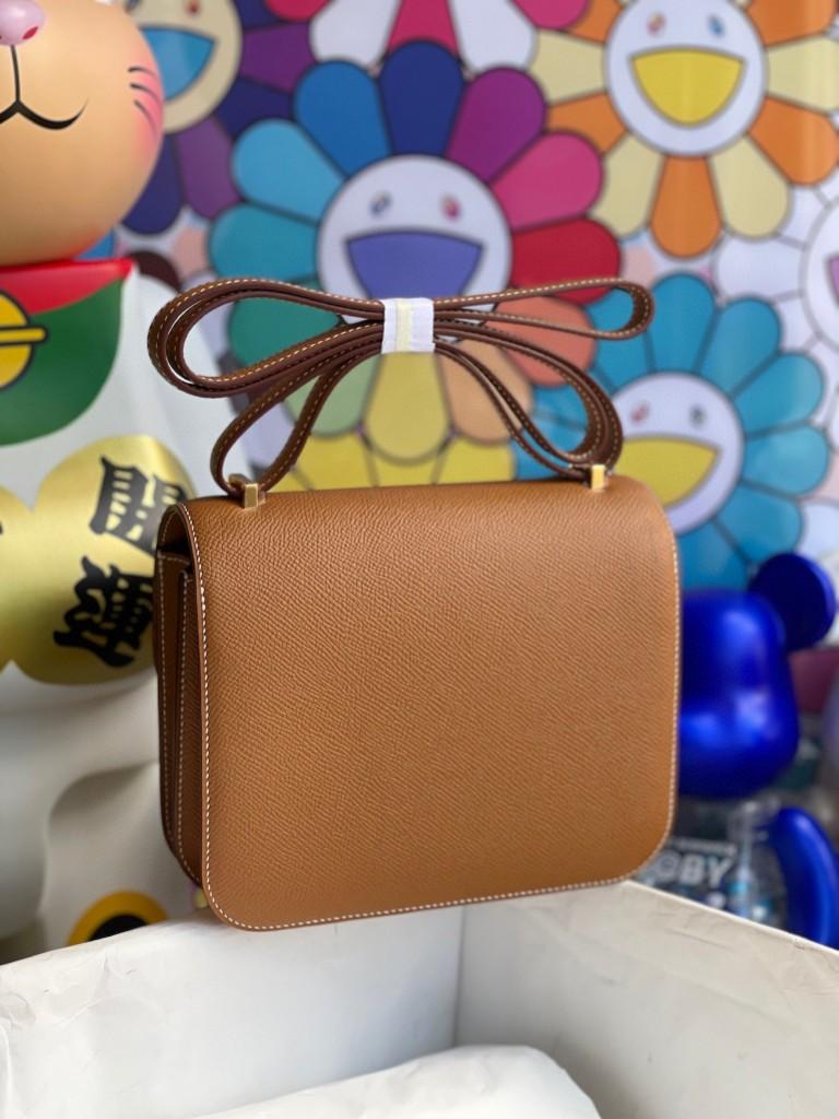 Hermès(爱马仕)Constance 空姐包 Epsom 原厂掌纹皮 ck37 金棕色 gold 金扣 18cm 顶级手缝