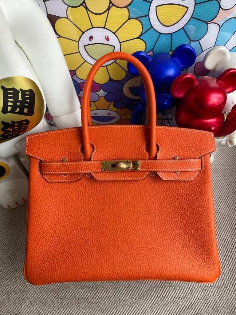 Hermès(爱马仕)Birkin 铂金包 9J火焰橙 原厂小牛皮 金扣 30cm 顶级手缝 定制