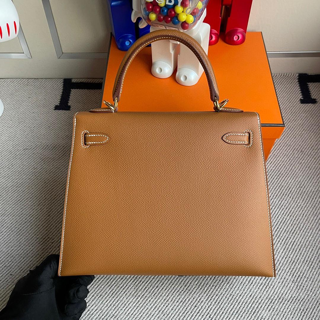 Hermès(爱马仕)Kelly 凯莉包 Epsom 原厂掌纹皮 ck37 金棕色 Gold 金扣 25cm 顶级手缝
