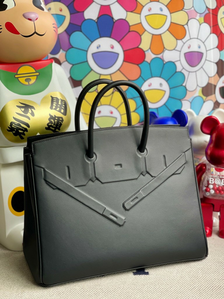 Hermès(爱马仕)Birkin Shadow 影子包 黑色 Noir 银扣 35cm