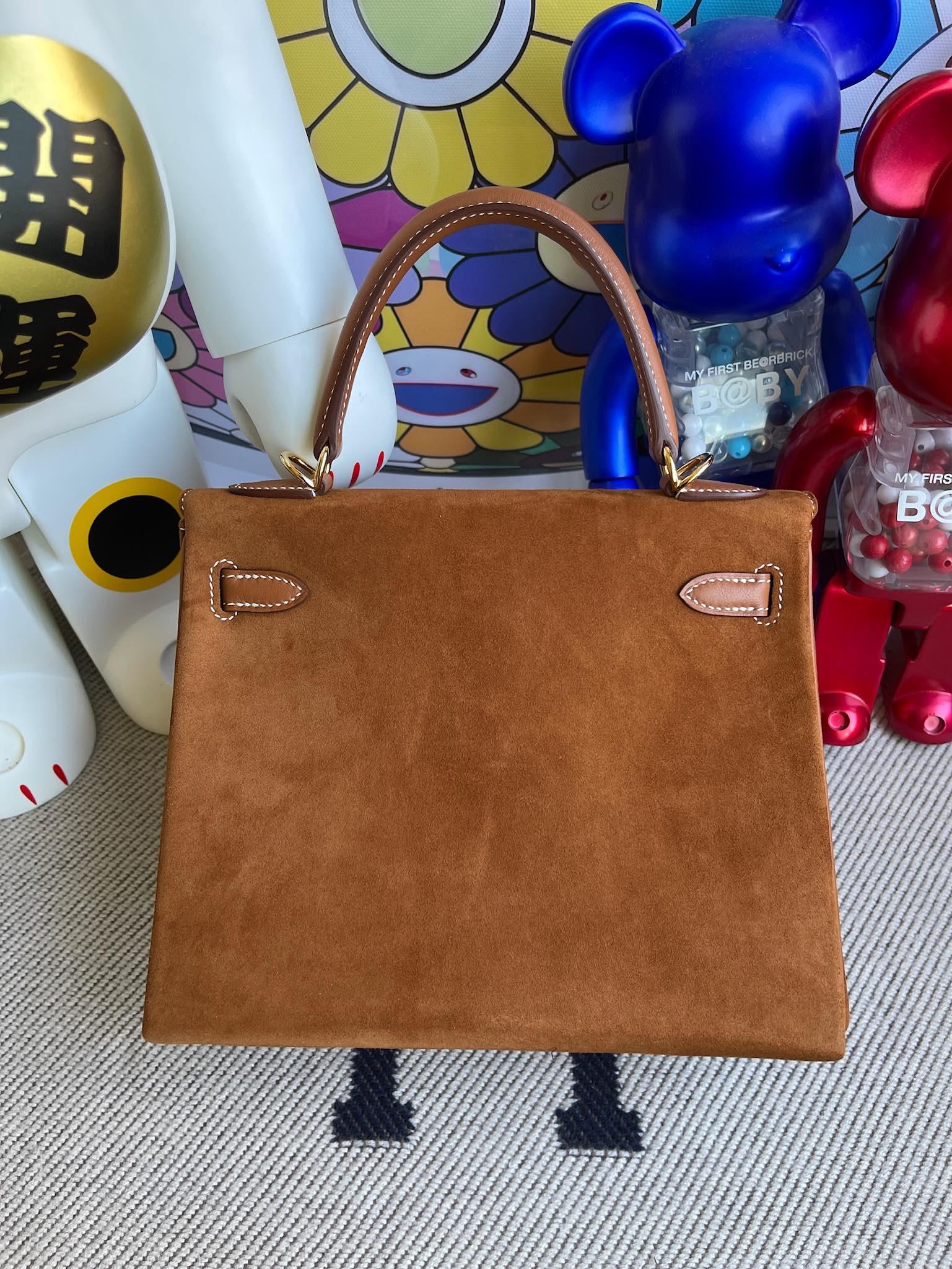 Hermès(爱马仕)Kelly 凯莉包 麂皮 拼 swift 金棕色 金扣 25cm 顶级手缝