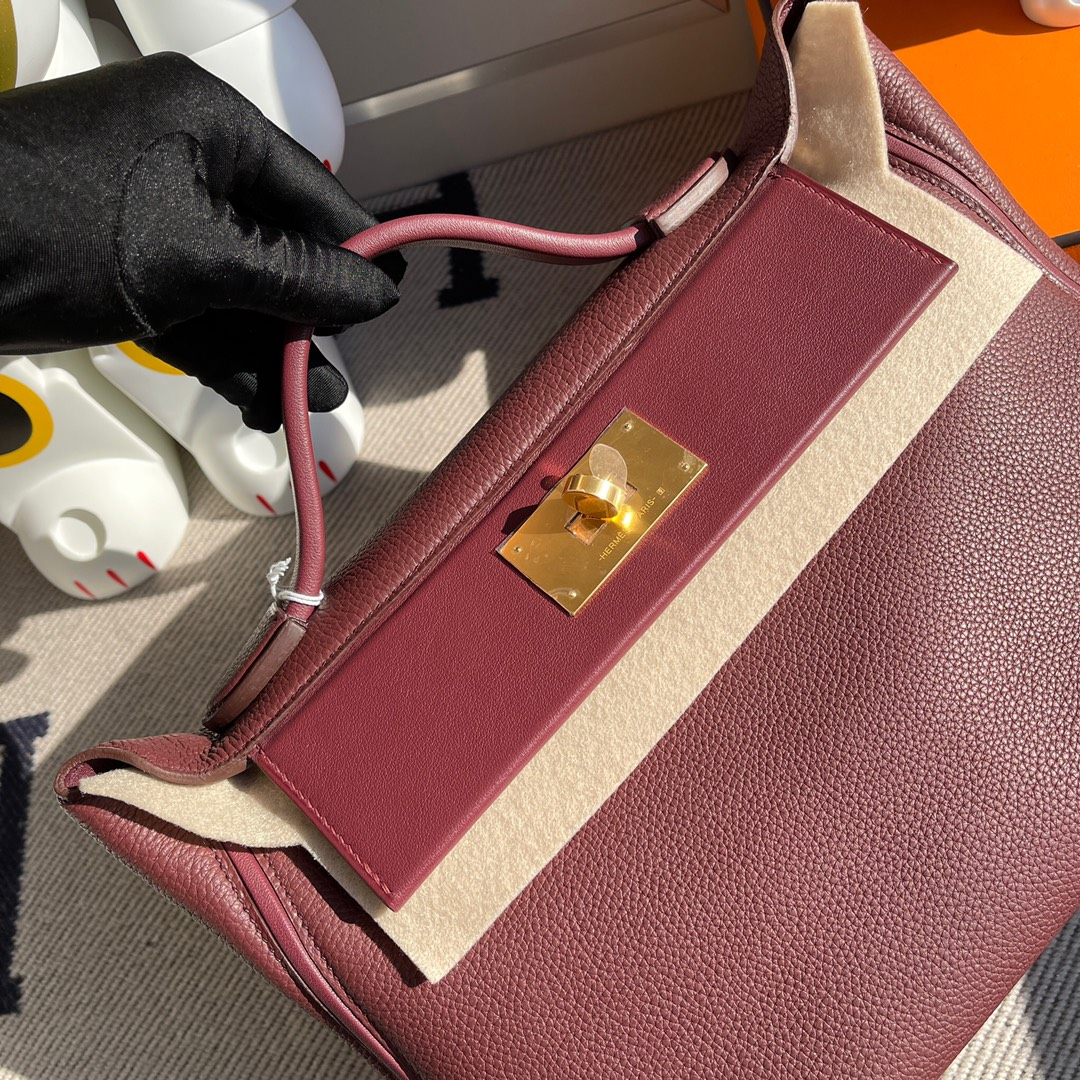Hermès(爱马仕)2424 凯莉包 爱马仕红 金扣 29cm 顶级手缝