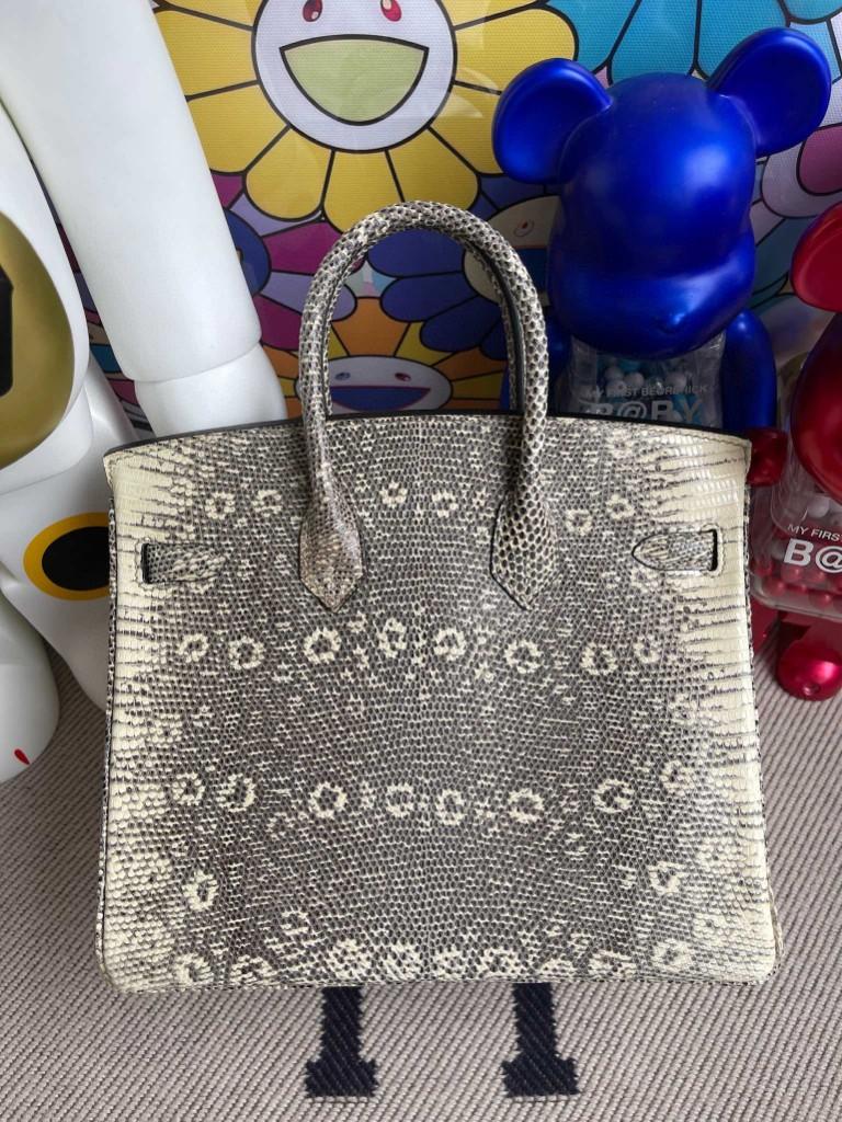 Hermès(爱马仕)Birkin 铂金包 Lizard 进口亮面蜥蜴 原色 小喜马拉雅色 金扣 25cm 顶级手缝