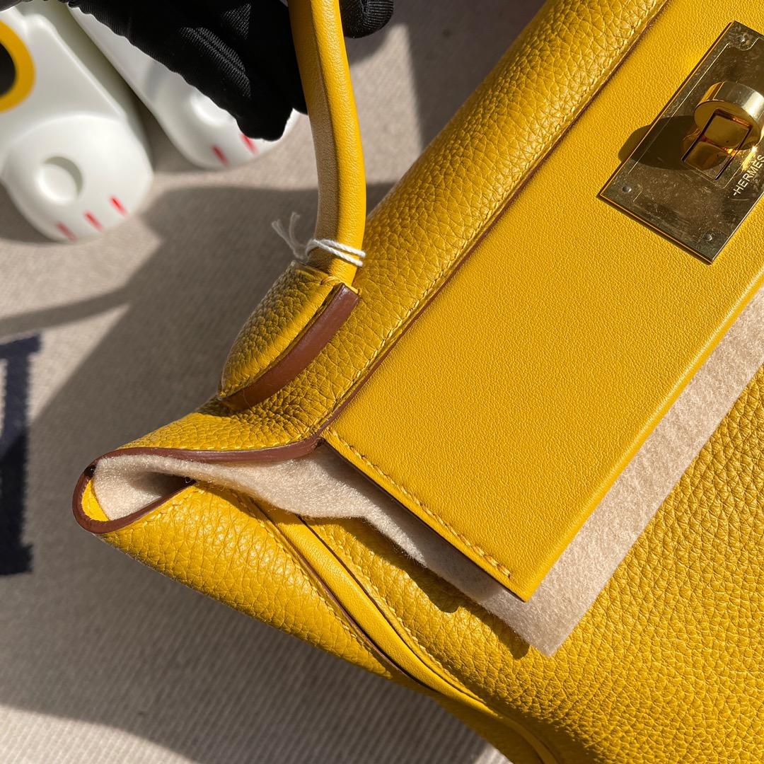Hermès(爱马仕)2424 凯莉包 9D 琥珀黄 Ambre 金扣 29cm 顶级手缝