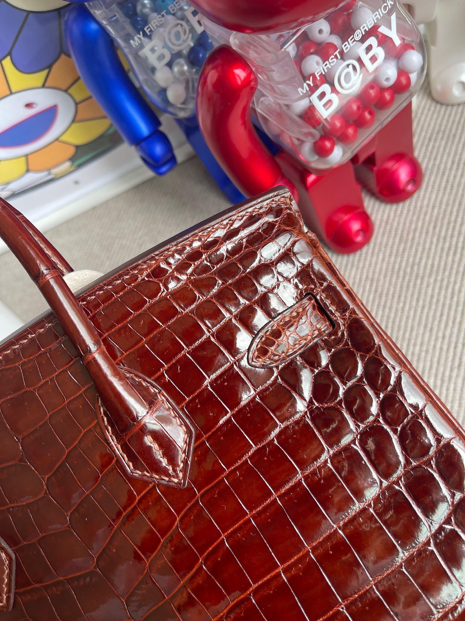 Hermès(爱马仕)Birkin 铂金包 Crocodile shiny 亮面鳄鱼 ck31 蜜糖棕 Miel 金扣 25cm 顶级手缝