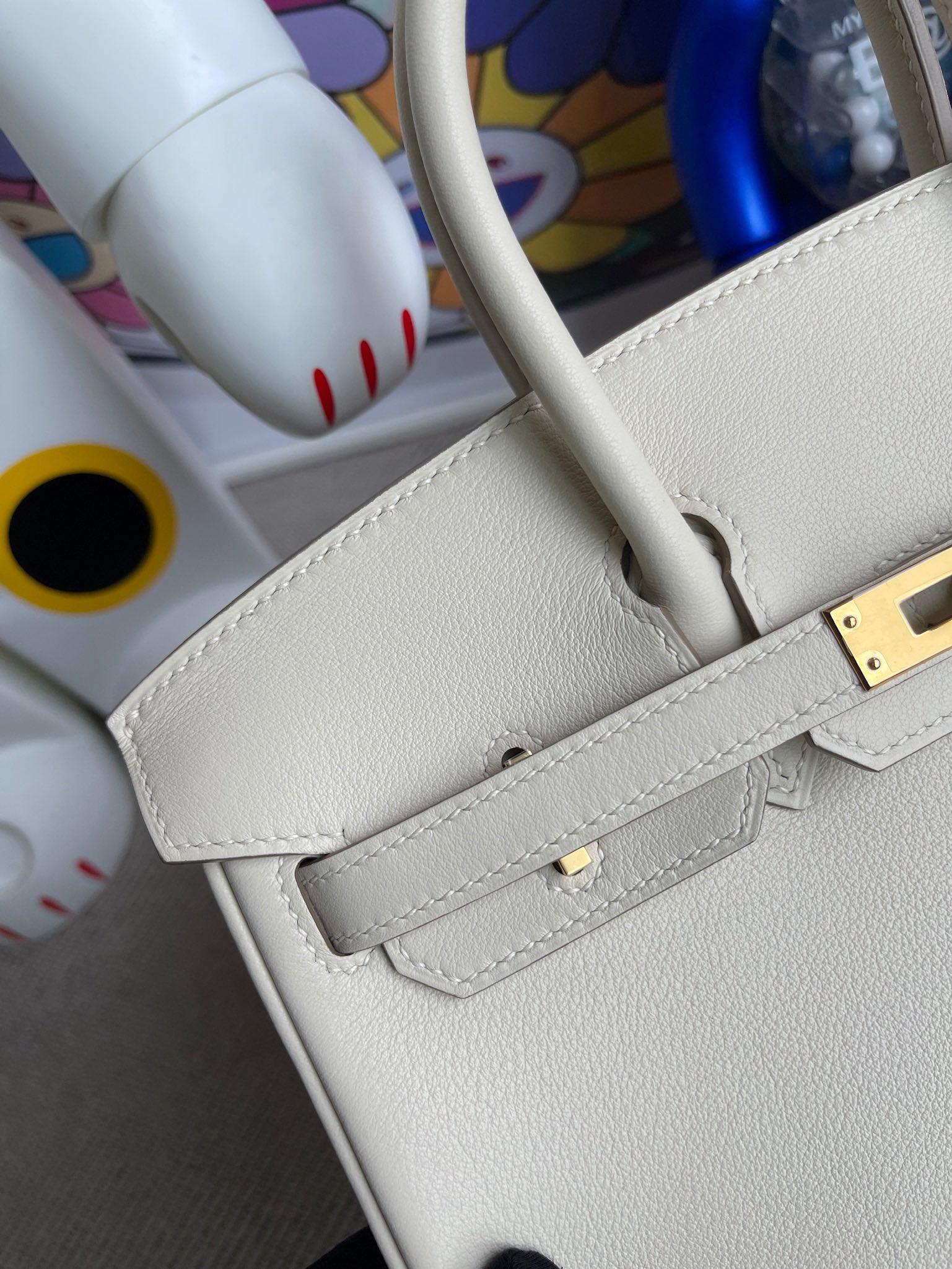 Hermès(爱马仕)Birkin 铂金包 Swift ck10 奶昔白 Craie 金扣 25cm 顶级手缝