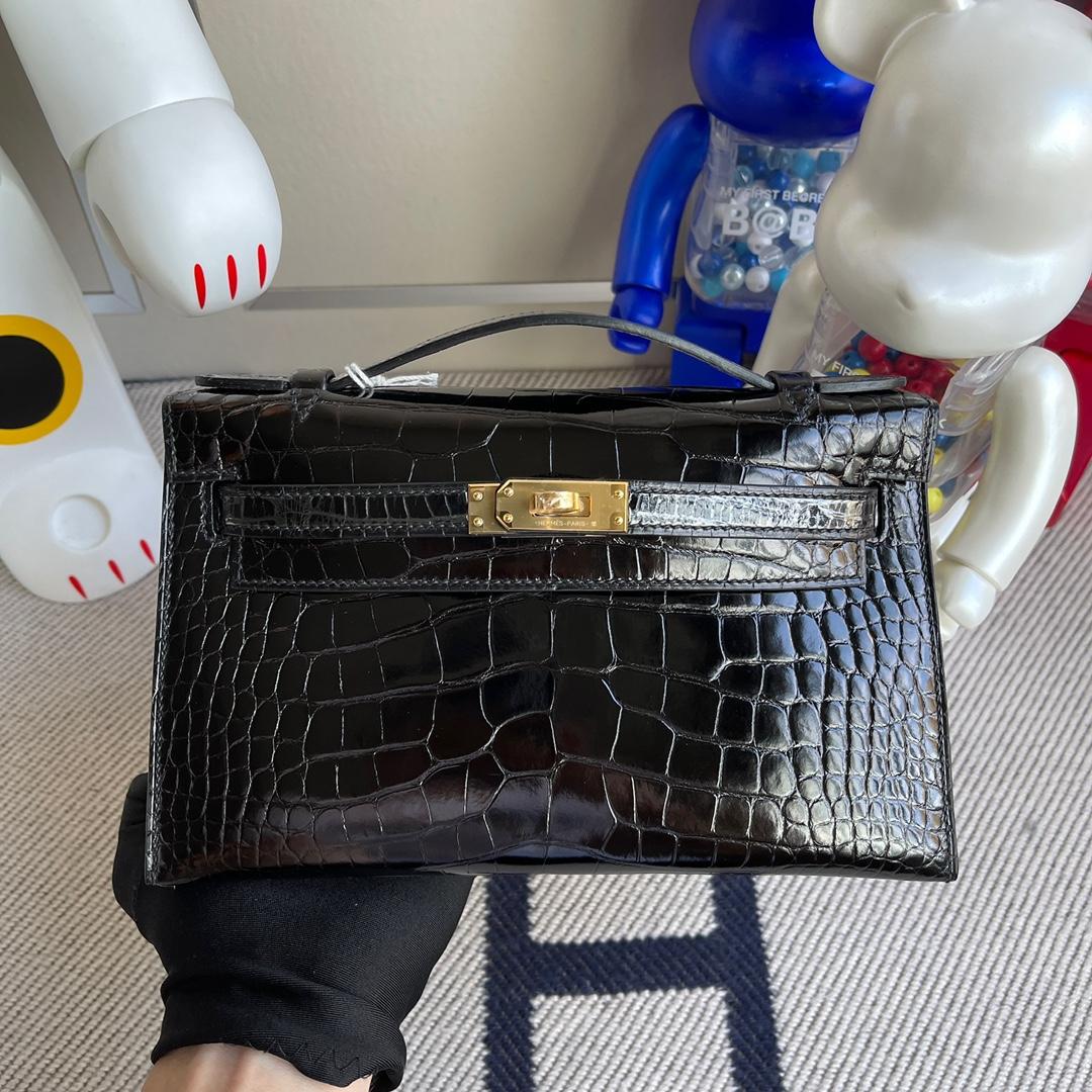 Hermès(爱马仕)Mini kelly pochette Alligator shiny 亮面鳄鱼 ck89 黑色 金扣 22cm 顶级手缝 现货
