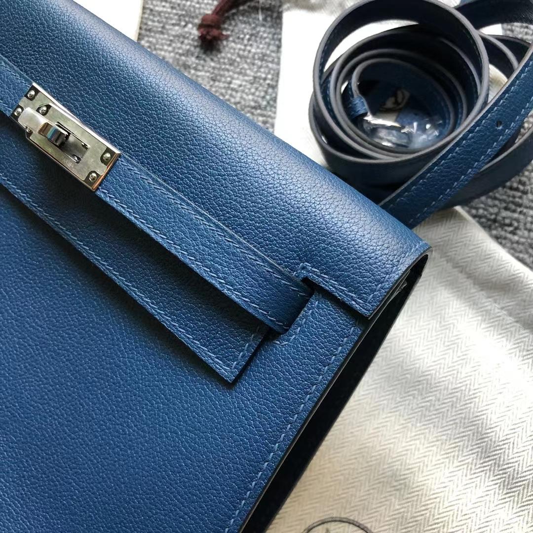 Hermès(爱马仕)Kelly Danse 跳舞包 Evercolor S4 深邃蓝 银扣 22cm in stock