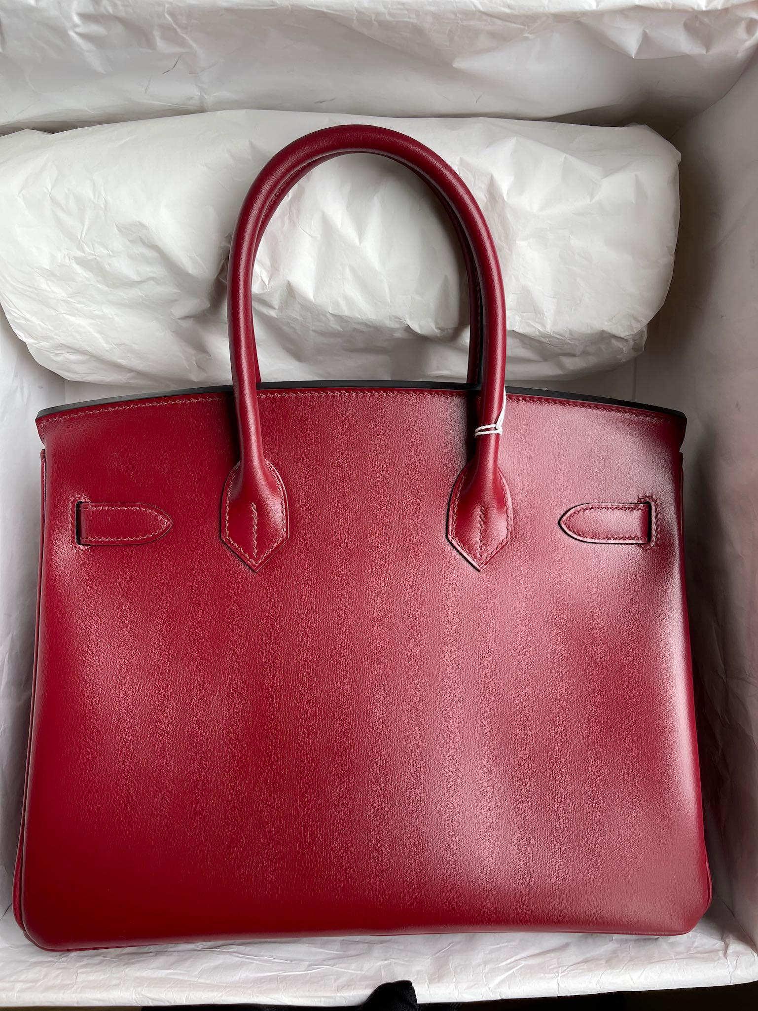 Hermès(爱马仕)Birkin 铂金包 Boxcalf 爱马仕红 Rouge H 金扣 30cm 顶级手缝 定制