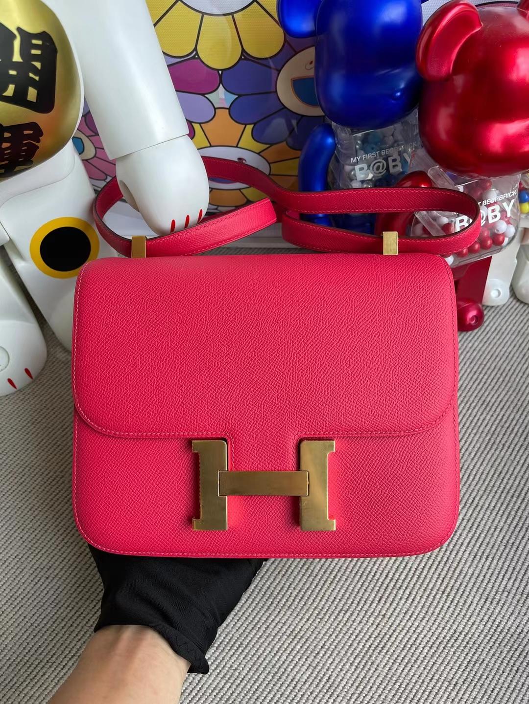 Hermès(爱马仕)Constance 康斯坦斯 Epsom i6 极致粉 金扣 24cm 顶级工艺 全手工缝制