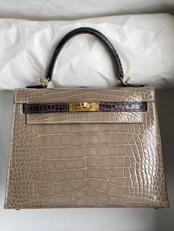 Hermès(爱马仕)Kelly 凯莉包 亮面美洲鳄 Ck81 斑鸠灰 拼 Ck88 石墨灰 金扣 马蹄印 shiny alligator 25cm