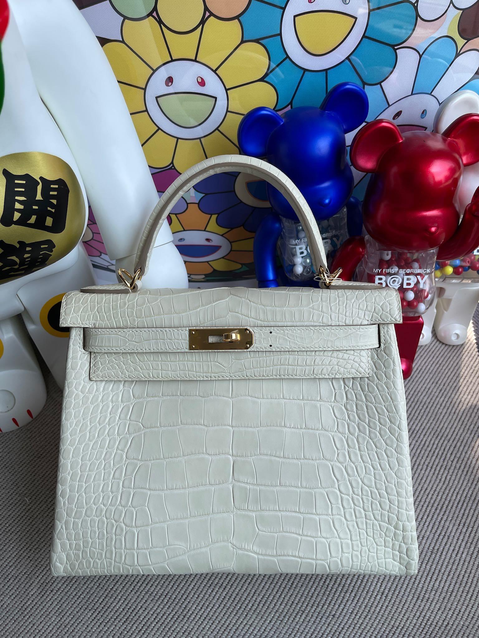 Hermès(爱马仕)Kelly 凯莉包 Alligator matt 雾面鳄鱼 8L 奶油白 Boton 金扣 28cm 顶级手缝