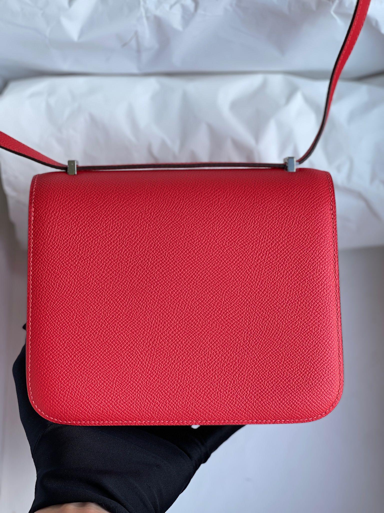 Hermès(爱马仕)Constance 康斯坦斯 Epsom 原厂掌纹皮 心红色 拼 珐琅扣 18cm 顶级手缝 定制