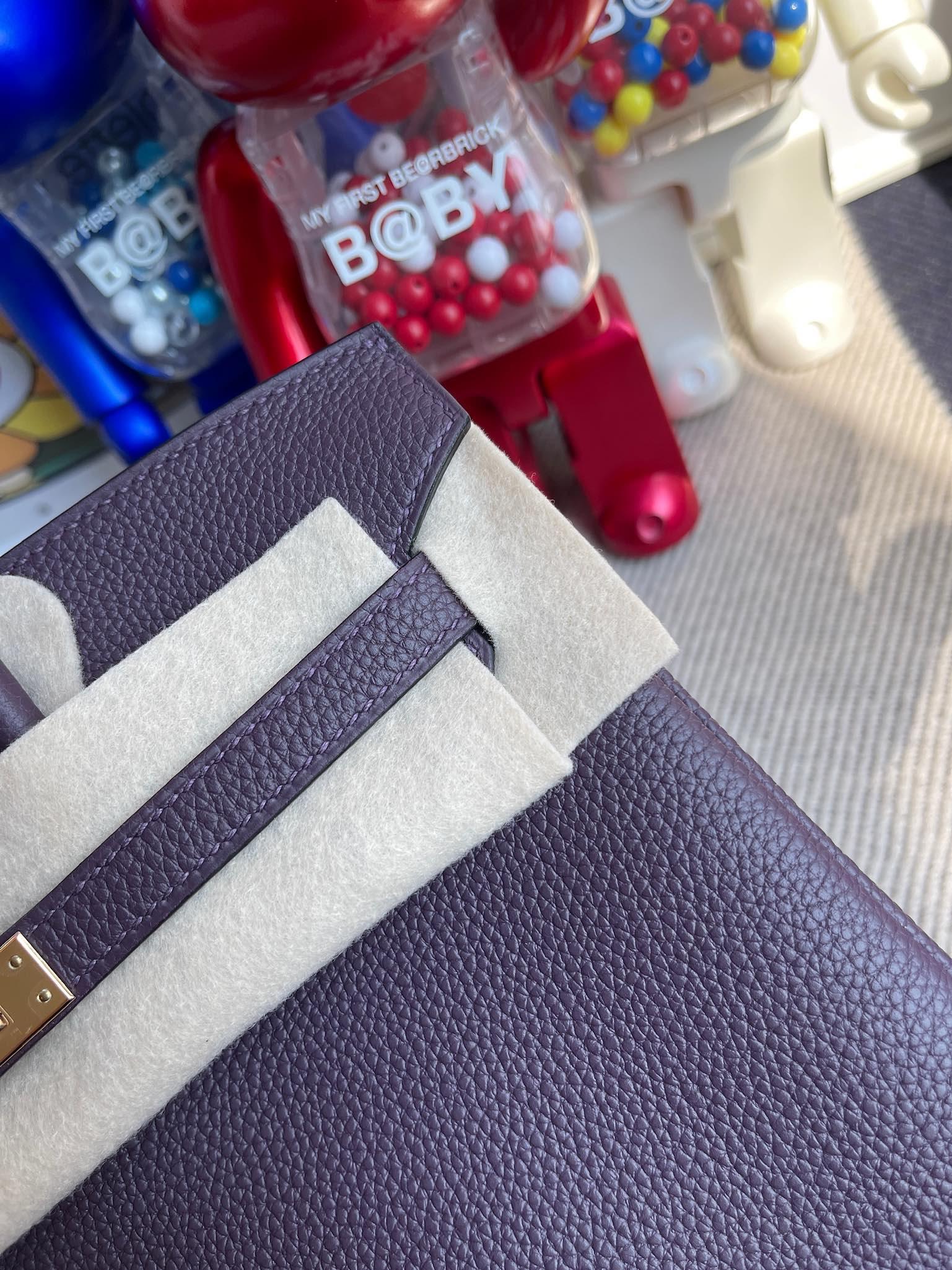Hermès(爱马仕)Birkin 铂金包 原厂小牛皮 togo 葡萄紫 玫瑰金扣 Rose gold 25cm 顶级手缝