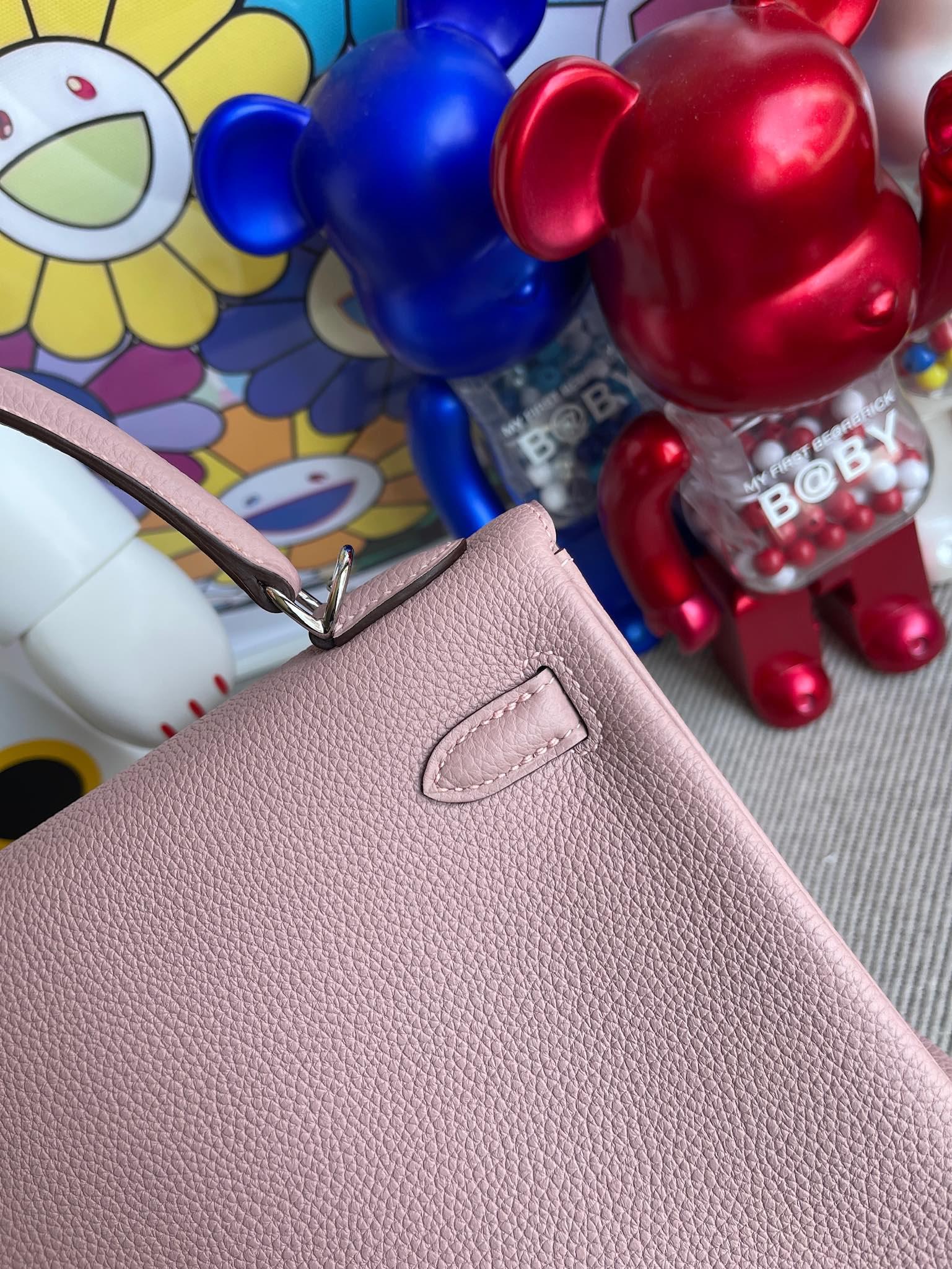 Hermès(爱马仕)Kelly 凯莉包 原厂小牛皮 togo 4W 紫藤色 银扣 25cm 顶级手缝