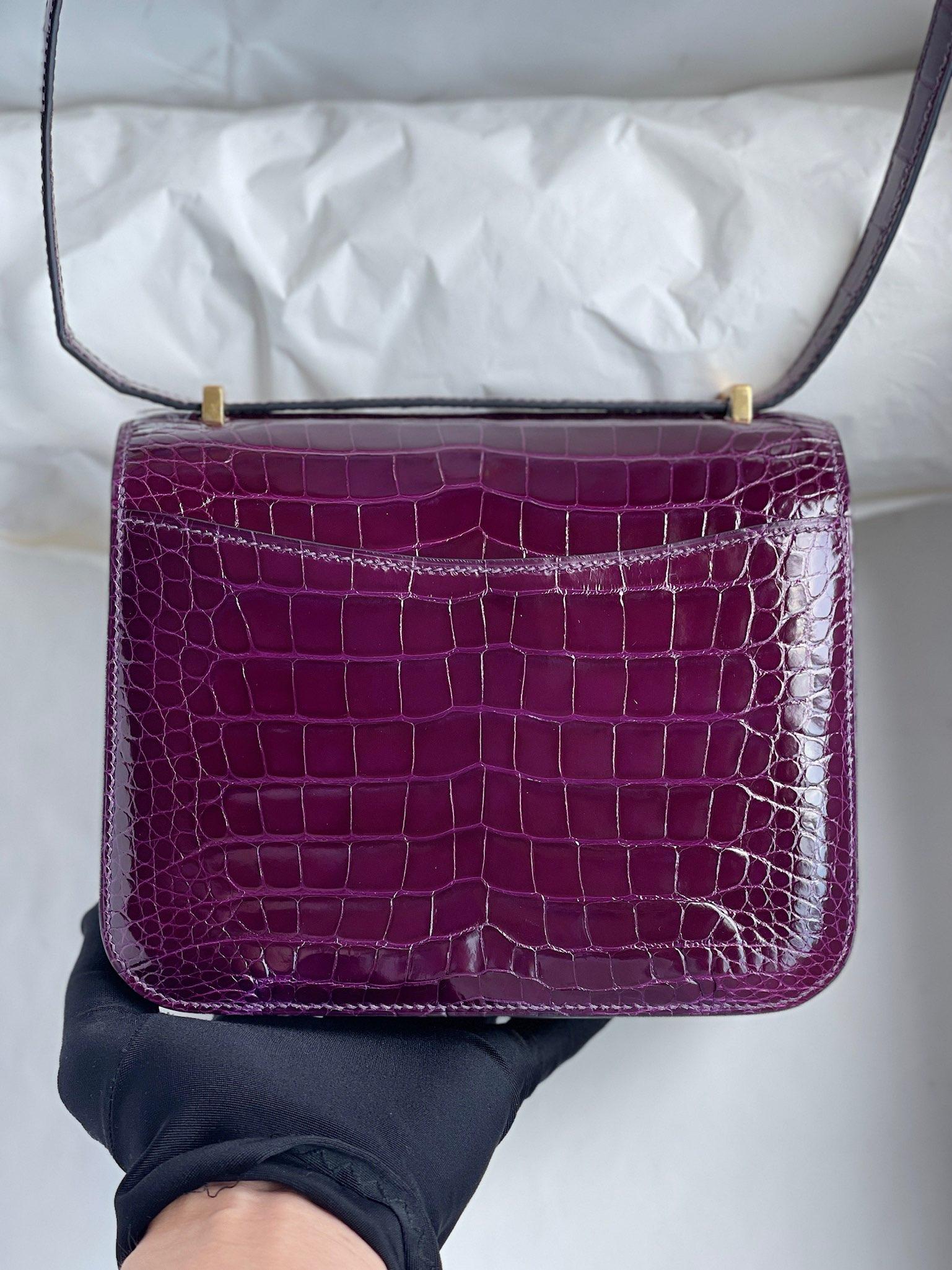 Hermès(爱马仕)Constance 康斯坦斯 Alligator shiny 亮面鳄鱼 玫瑰紫 金扣 18cm 顶级手缝 定制