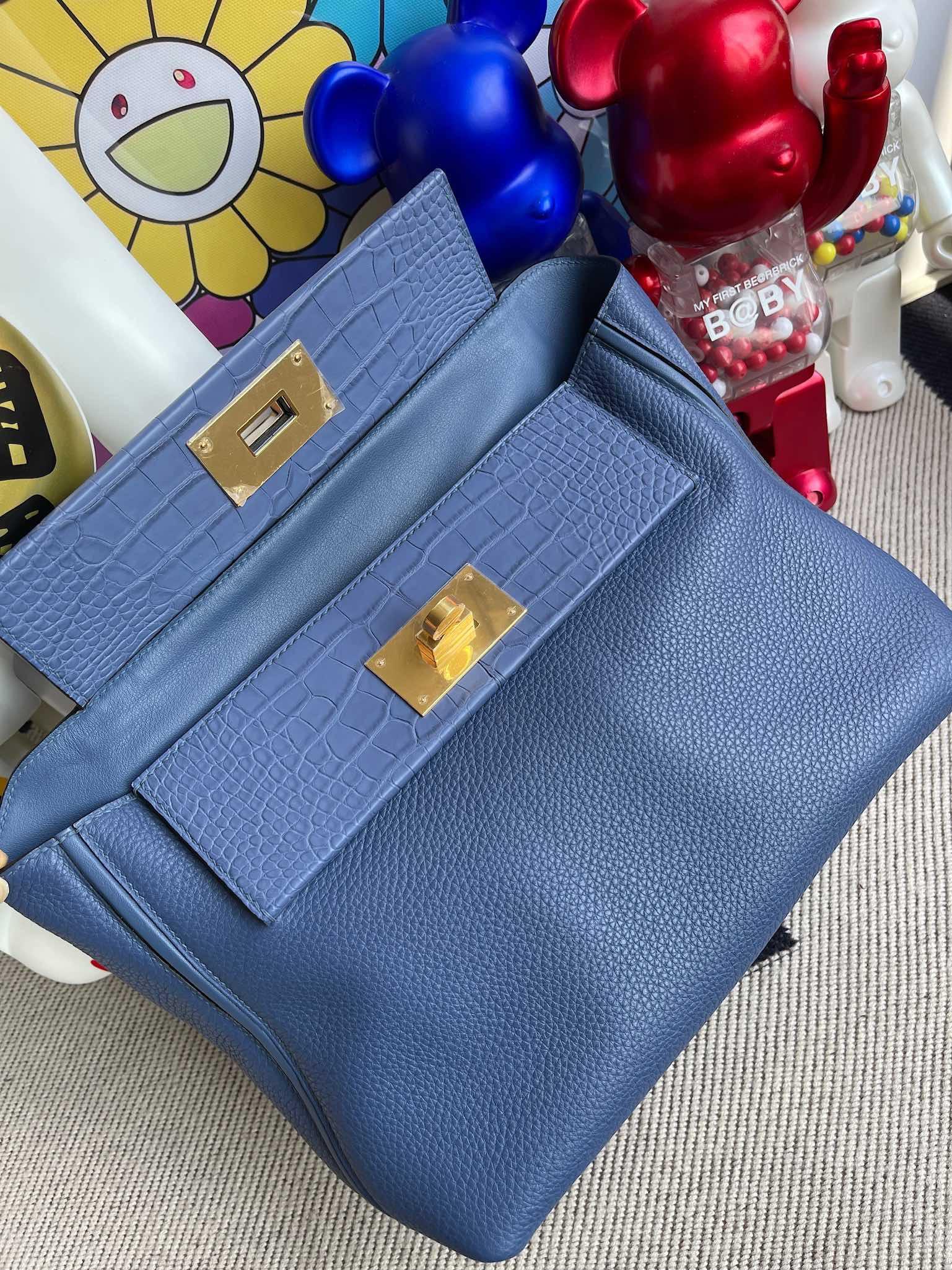 Hermès(爱马仕)Touch 系列 2424 29cm 明蓝色 雾面鳄 金扣 顶级手缝