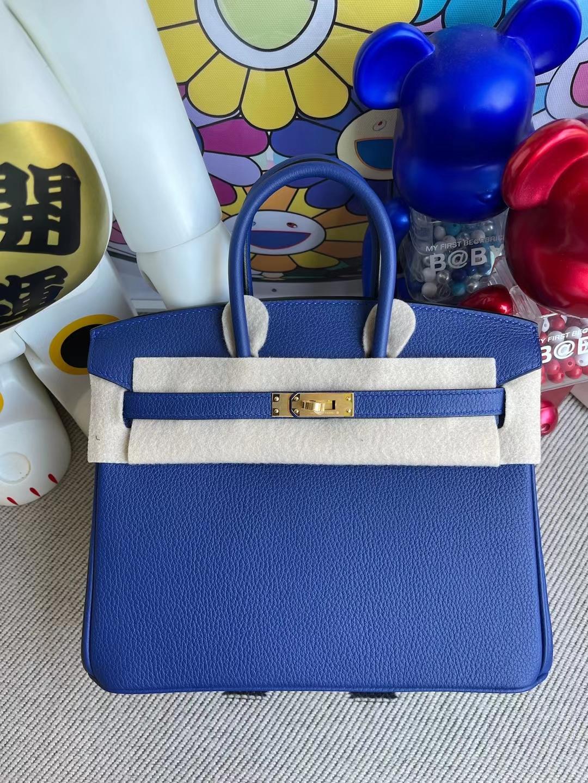 Hermès(爱马仕)Birkin 铂金包 togo 7T 电光蓝 金扣 25cm