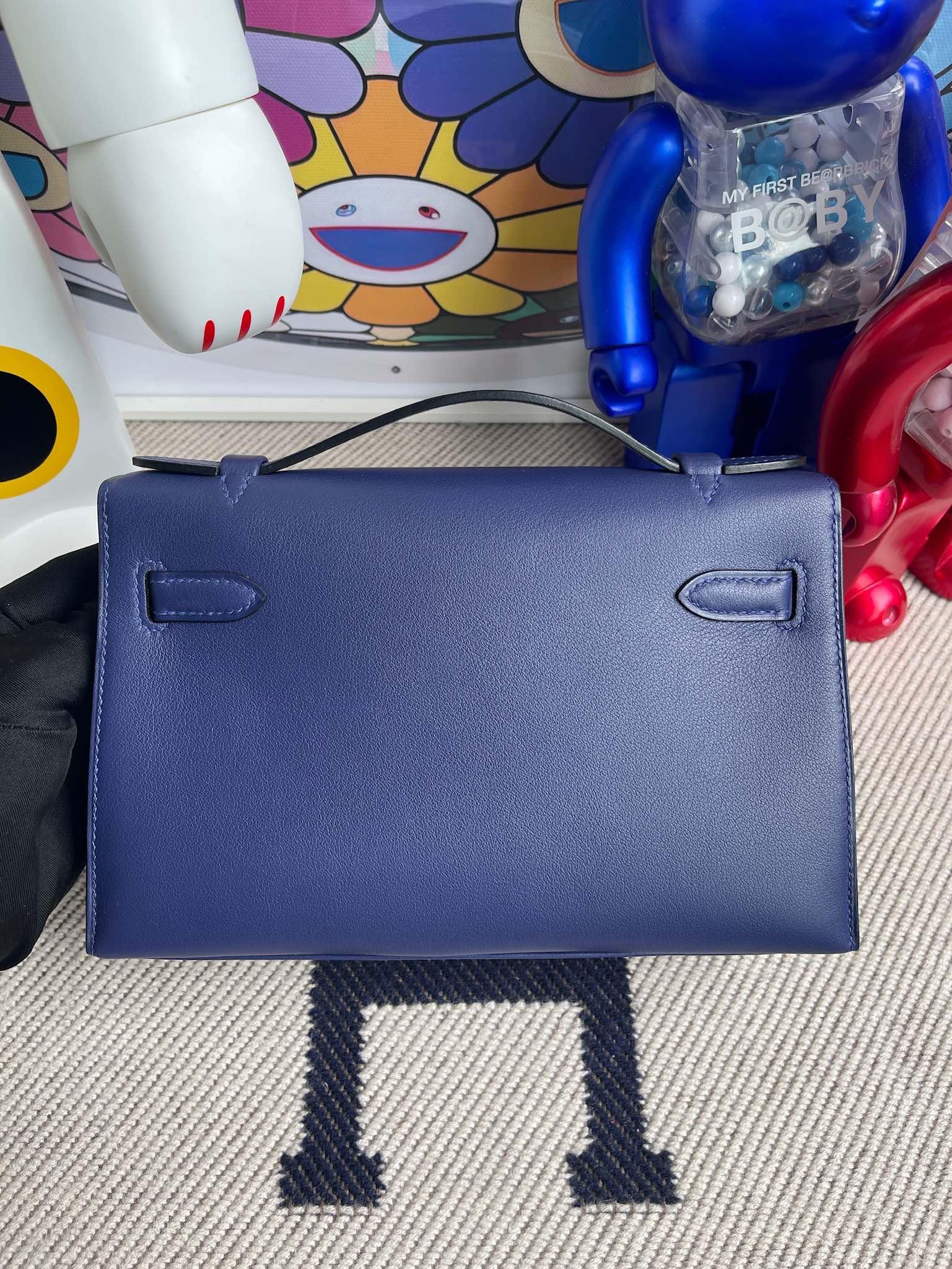 Hermès(爱马仕)Mini kelly pochette Swift M3 墨水蓝 金扣 22cm 顶级手缝
