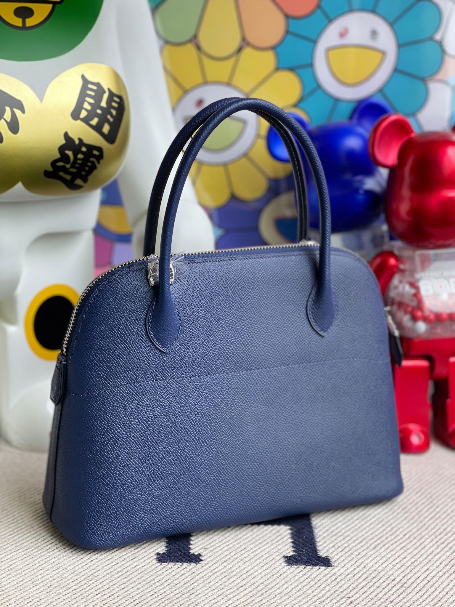 Hermès(爱马仕)Bolide 保龄球包 Epsom 原厂掌纹皮 宝石蓝 blue saphir 银扣 27cm 顶级手缝