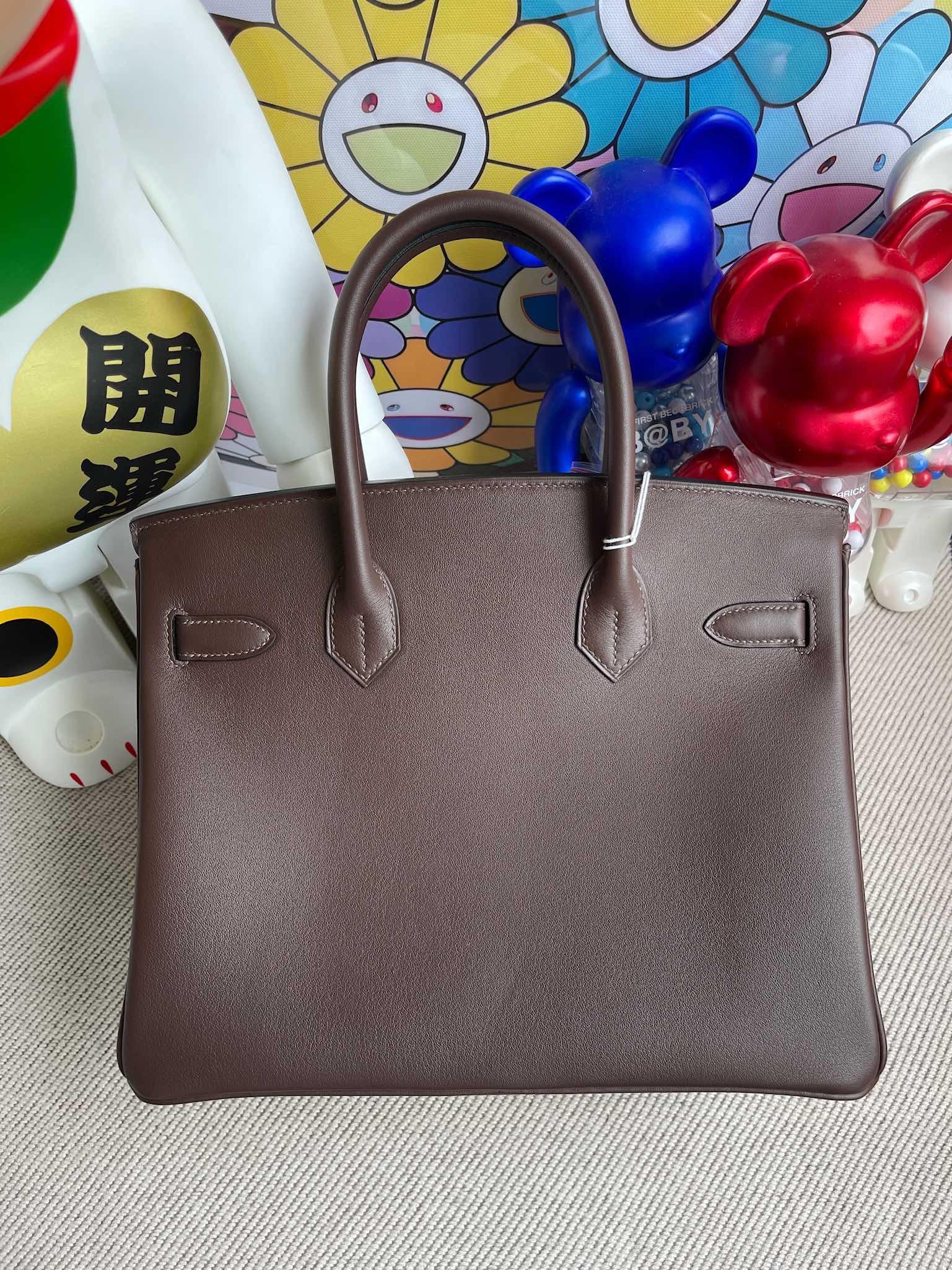 Hermès(爱马仕)Birkin 铂金包 Swift 巧克力色 银扣 30cm 顶级手缝