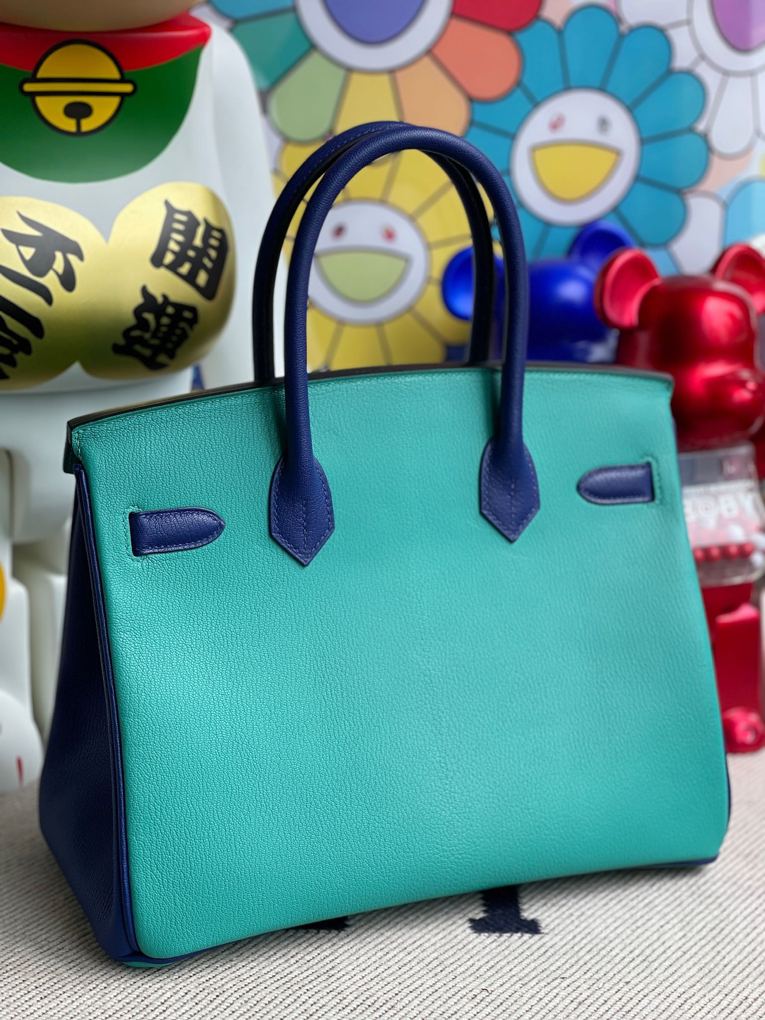 Hermès(爱马仕)Birkin 铂金包 Chevre 山羊皮 孔雀蓝 拼 电光蓝 金扣 30cm 顶级手缝