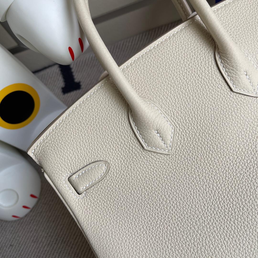 Hermès(爱马仕)Birkin 铂金包 原厂小牛皮 ck10 奶昔白 craie 金扣 25cm 顶级手缝 现货