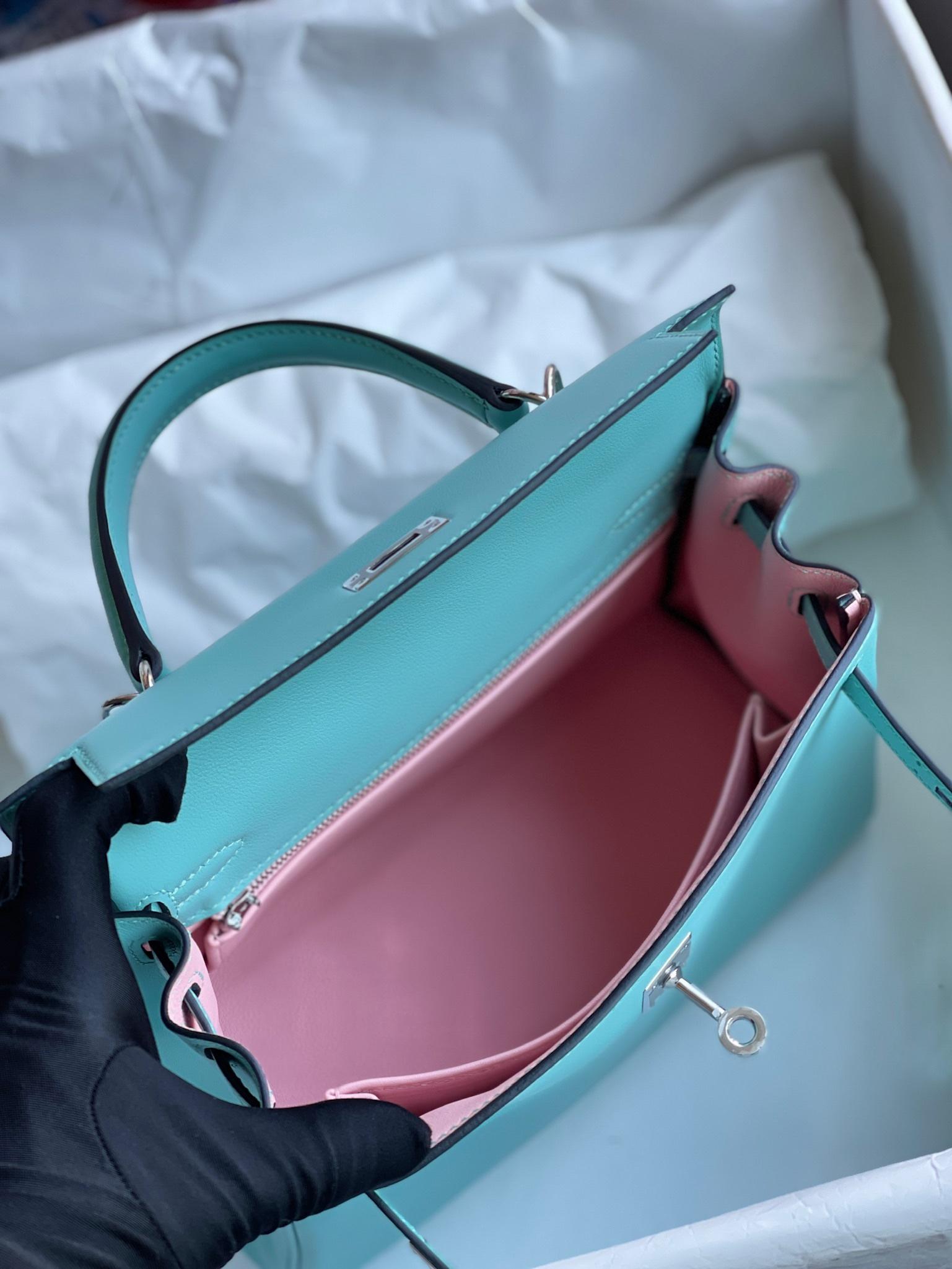 Hermès(爱马仕)Kelly 凯莉包 Swift 3p 马卡龙蓝 内拼 3Q粉 银扣 25cm 顶级手缝
