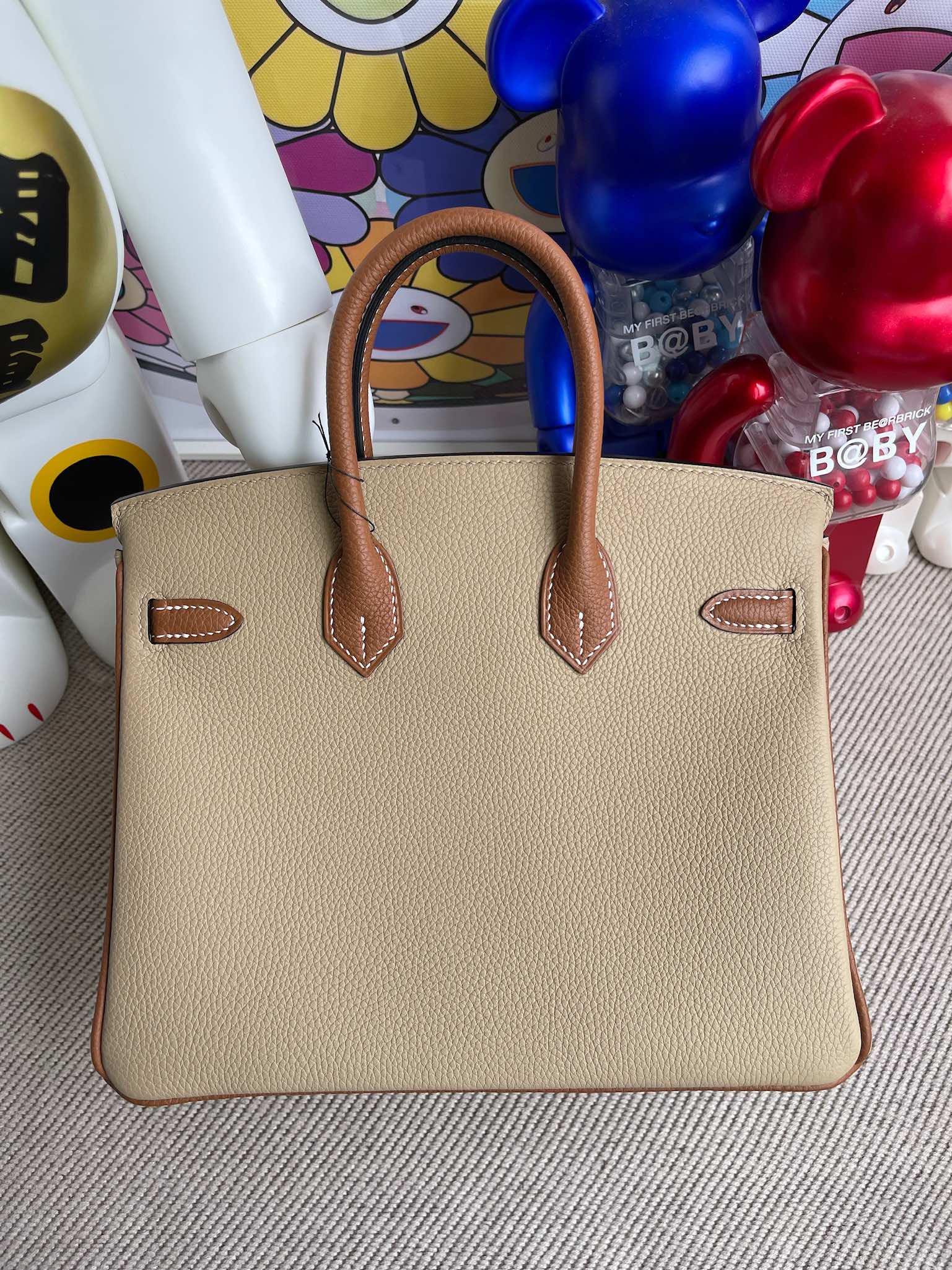 Hermès(爱马仕)Birkin 铂金包 原厂小牛皮 togo S2 风衣灰 拼 金棕 金扣 马蹄印 25cm 顶级手缝