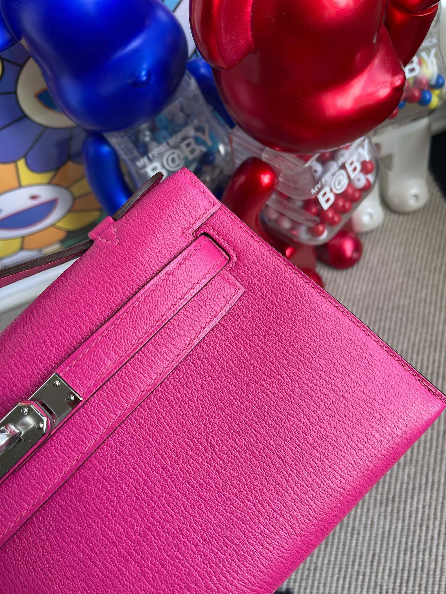 Hermès(爱马仕)Mini kelly pochette Chevre 山羊皮 糖果粉 银扣 22cm 顶级手缝