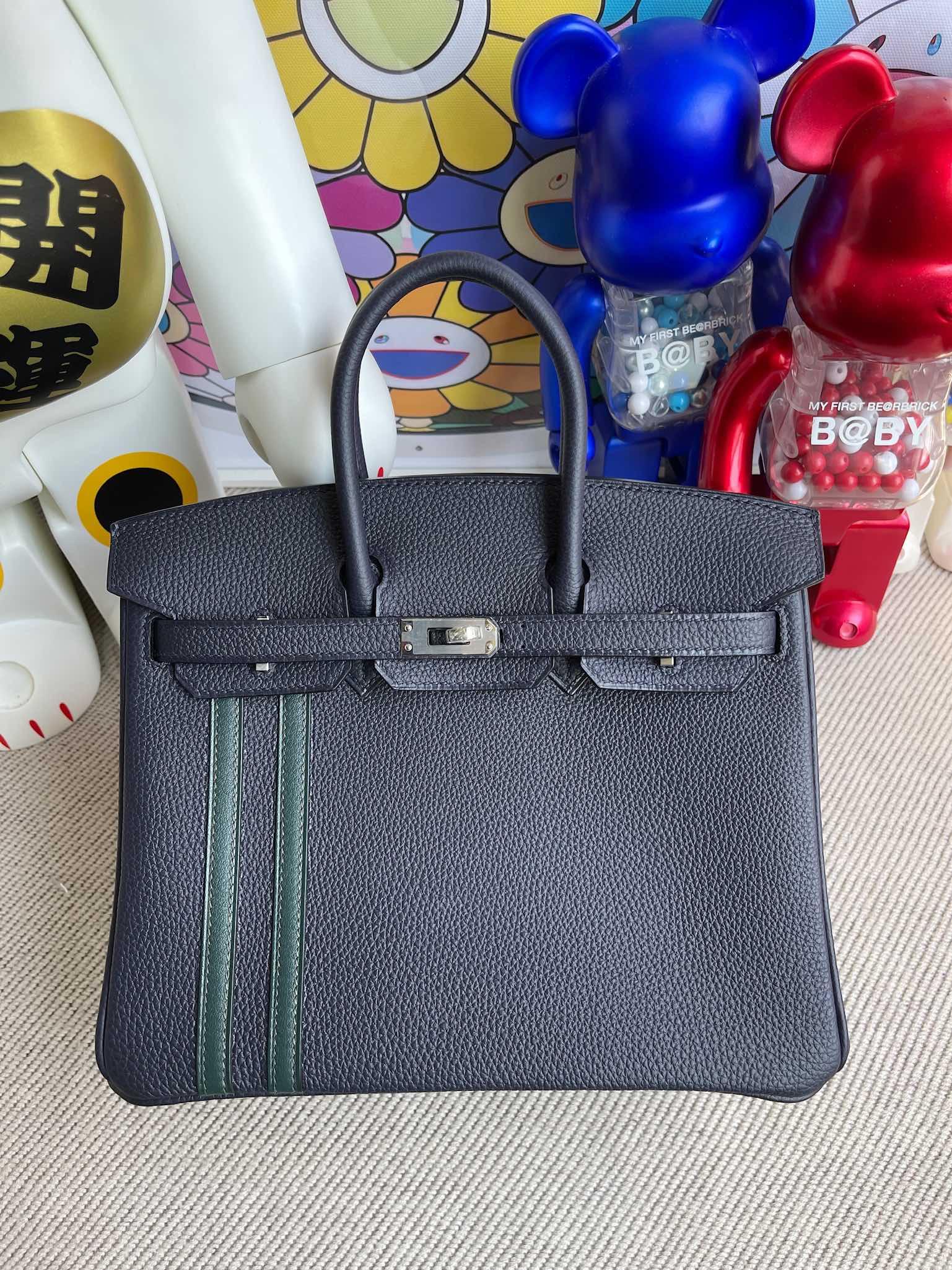 Hermès(爱马仕)Birkin 铂金包 原厂小牛皮 togo 午夜蓝拼双杠柏树绿 银扣 25cm 顶级手缝