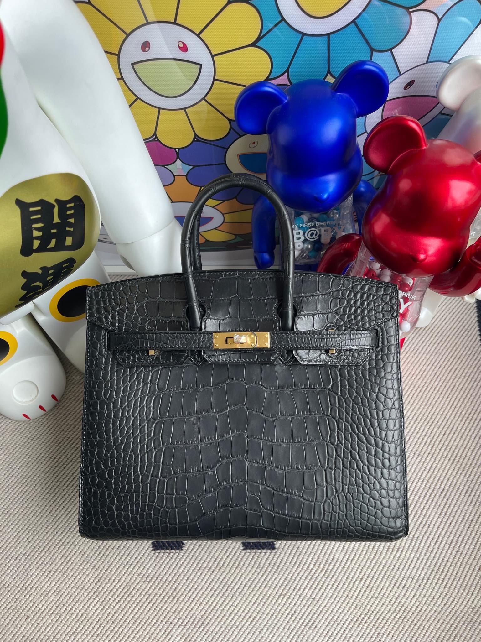 Hermès(爱马仕)Birkin 铂金包 Alligator matt 雾面鳄 ck89 黑色 noir 外缝 25cm 顶级手缝